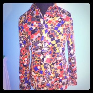 GROOVY RETRO 1970's Polyester Button Up Shirt M